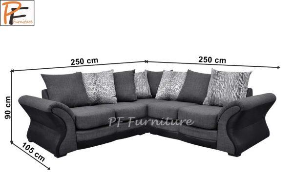 New Candem Fabric Corner Sofa Black/grey-1309