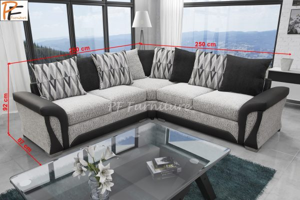 New Shannon corner sofa black/white-1311